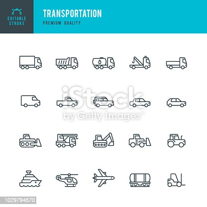 Set of Transports and Construction Machinery thin line vector icons.