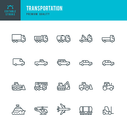 Transportation Set Of Line Vector Icons Stock Illustration - Download Image Now