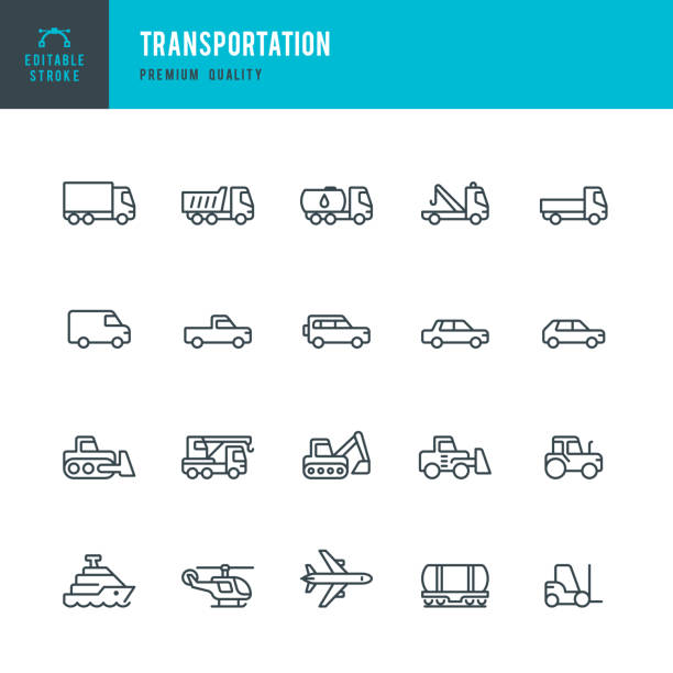 illustrazioni stock, clip art, cartoni animati e icone di tendenza di transportation - set of line vector icons - automotive