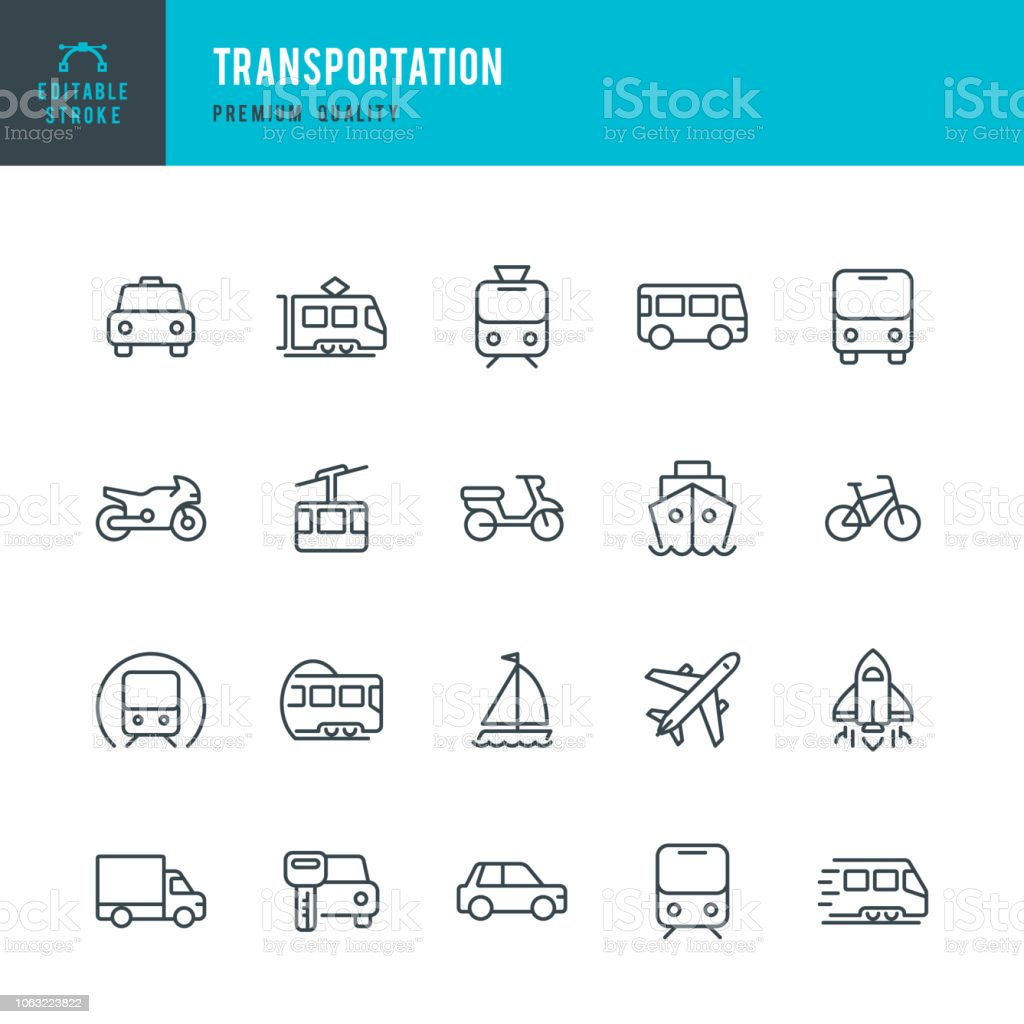 Transportation - set of line vector icons Set of Public Transports and Transportation thin line vector icons Airplane stock vector