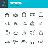 Set of Public Transports and Transportation thin line vector icons