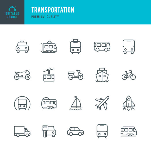 Transportation - set of line vector icons Set of Public Transports and Transportation thin line vector icons airplane symbols stock illustrations