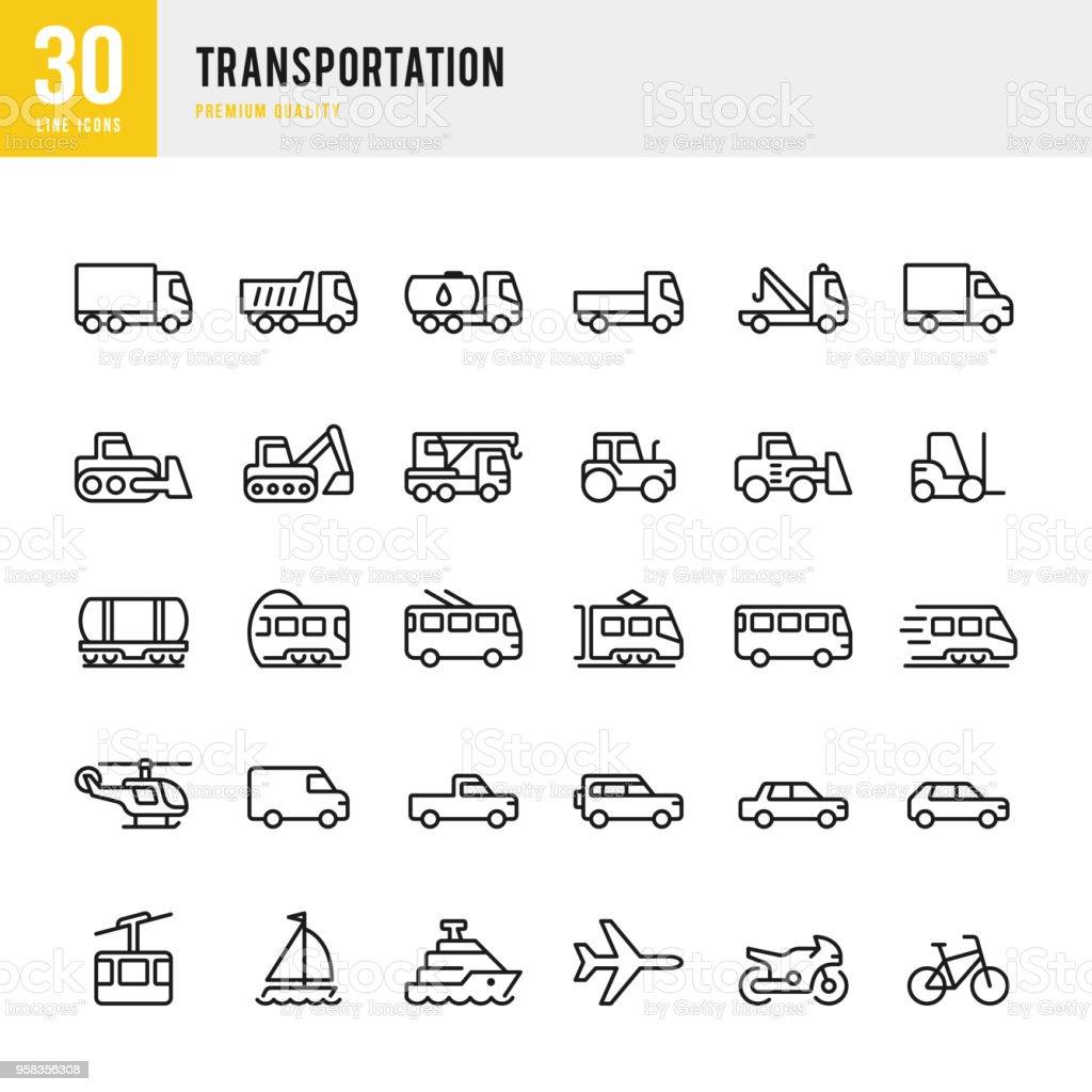 Transportation - set of line vector icons Set of 30 Transportation thin line vector icons 4x4 stock vector