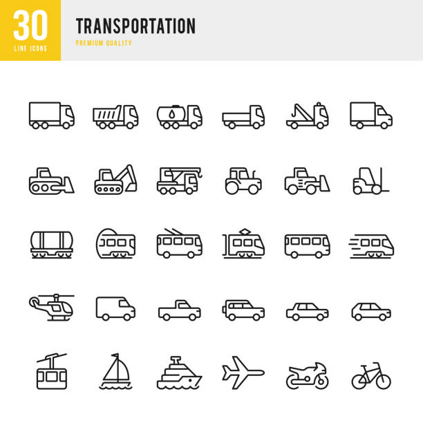 illustrazioni stock, clip art, cartoni animati e icone di tendenza di transportation - set of line vector icons - car