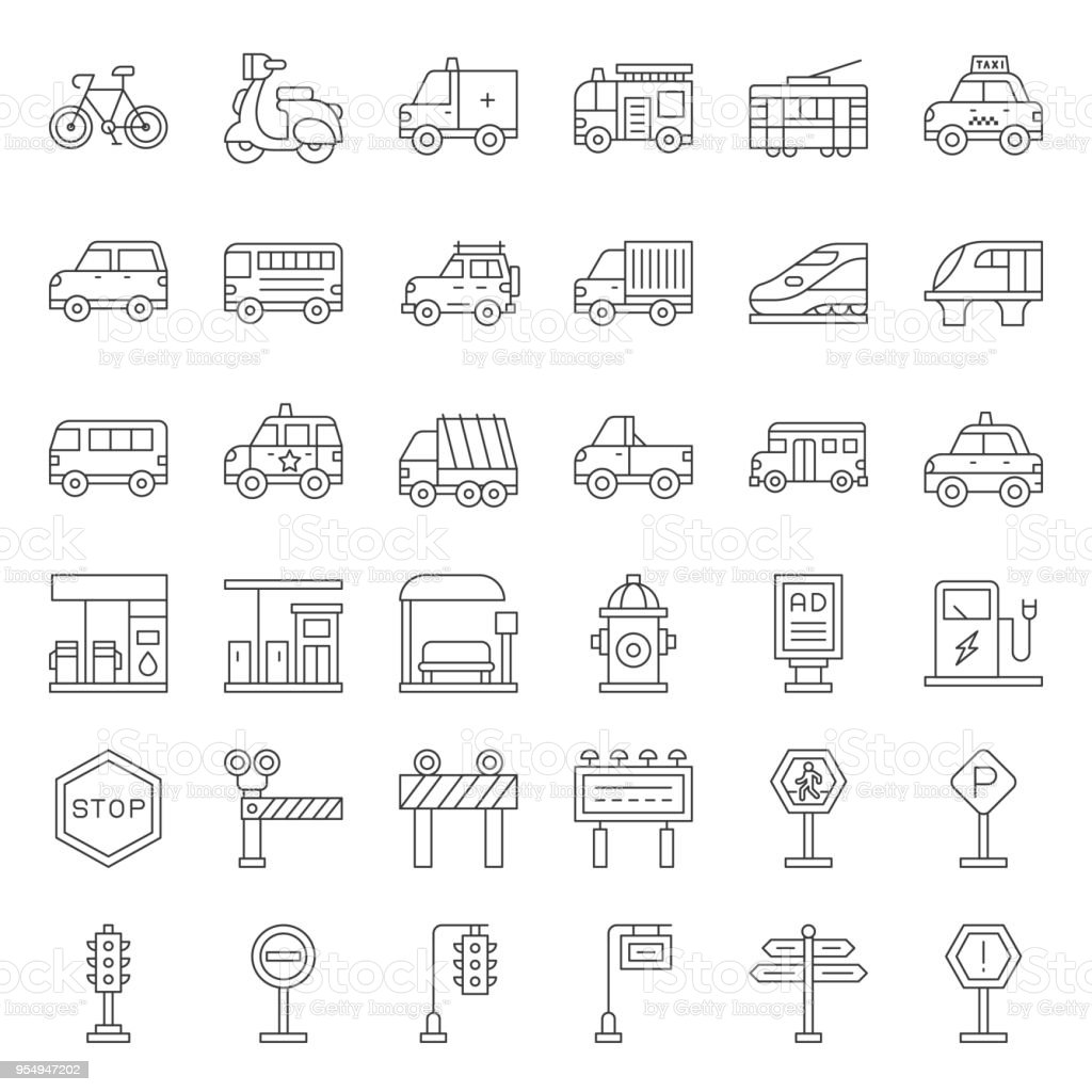 Transportation set with sign on road side, outline icon vector art illustration