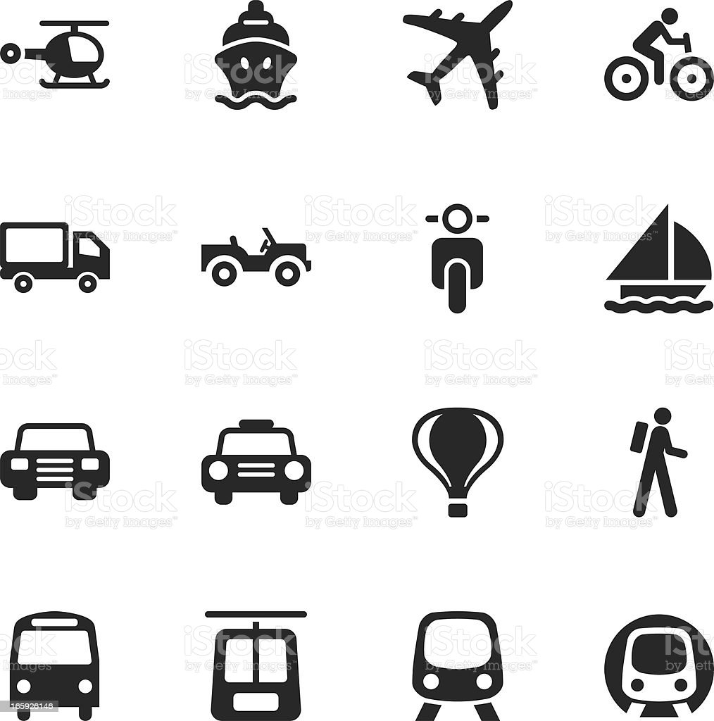 Transportation Silhouette Icons royalty-free stock vector art
