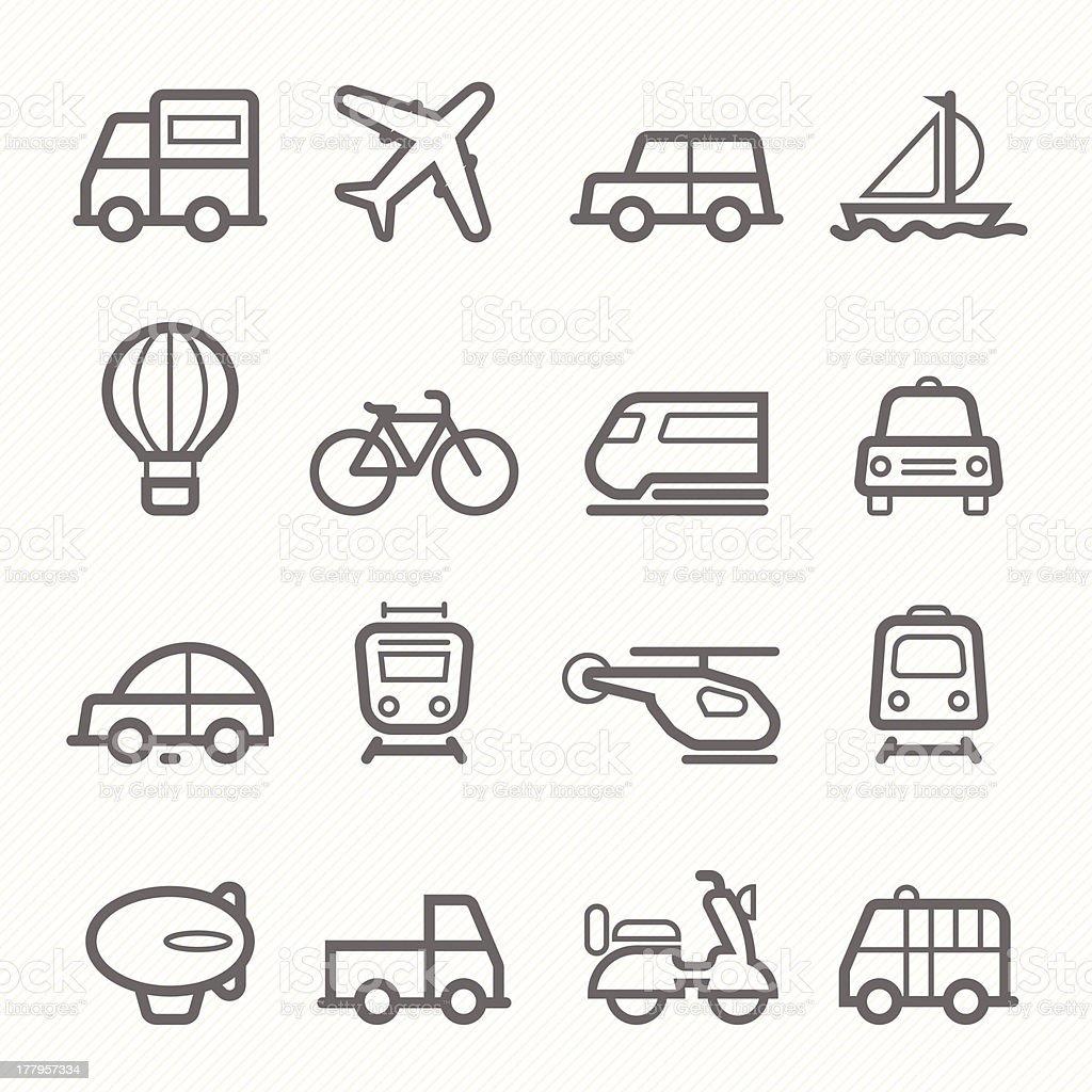 transportation symbol line icon set vector art illustration