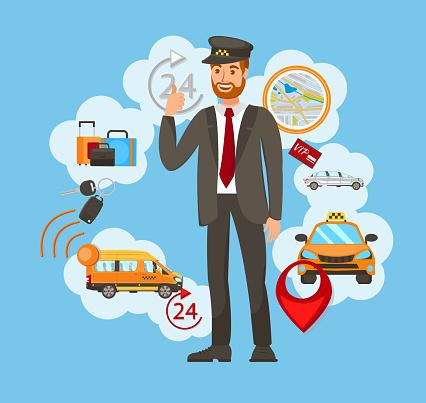 Transportation, Taxi Service Vector Illustration