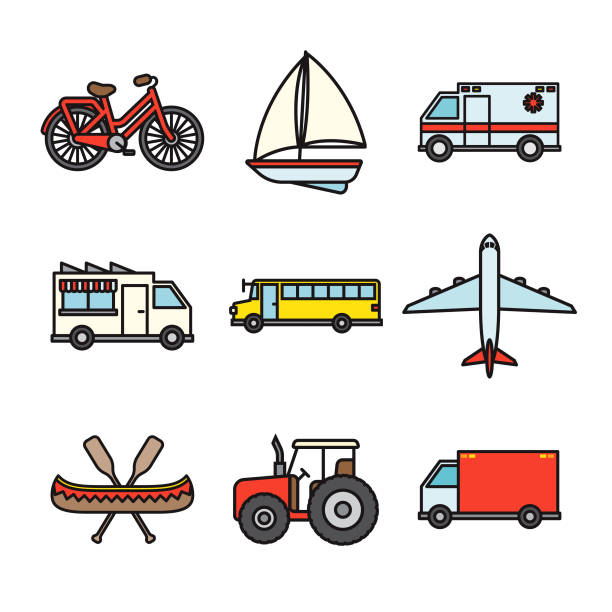transportation thin line icon set - thin line fonts stock illustrations