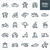 A set of transportation icons that include editable strokes or outlines using the EPS vector file. The icons include a bicycle, car, light rail, subway, bus, airplane, motorhome, yacht, motorcycle, train, hot air balloon, person riding a scooter, gondola, person riding a bike, twin engine airplane, taxi cab, electric scooter, sailboat, semi-truck, cruise ship, four wheeler, helicopter, motor boat and a person riding a horse.