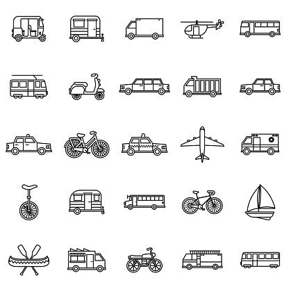 Transportation Thin Line Outline Icon Set
