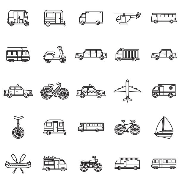 Transportation Thin Line Outline Icon Set vector art illustration