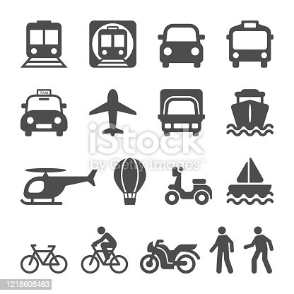 Public Transportation vehicles for people's travel. Transport Icon set.