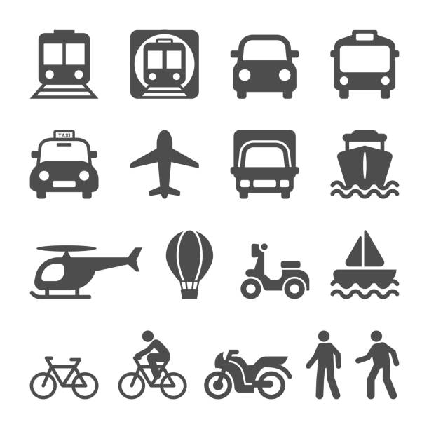 Transportation Transport Icon set Public Transportation vehicles for people's travel. Transport Icon set. land vehicle stock illustrations