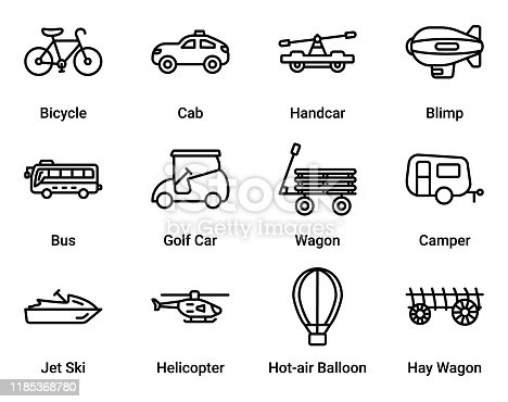 A Simple set of Transportation & Travel Vector Sign & Symbol in Line Style icons.  easy to edit