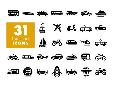Transportation vector flat glyph icon set. Graph symbol for travel and tourism web site and apps design, logo, app, UI