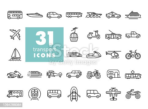 Transportation vector flat icon set. Graph symbol for travel and tourism web site and apps design, , app, UI
