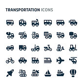Simple bold vector icons related to vehicle & transportation. Symbols such as bus, truck, car and other light and heavy vehicle are included in this set. Editable vector, still looks perfect in small size.