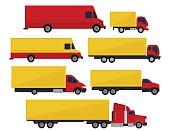 Trucks and trailers isolated white background. Trucks and semi-trucks. Vector illustration, flat design