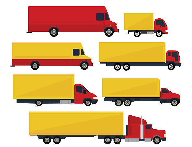 Transportation Trucks and trailers isolated white background. Trucks and semi-trucks. Vector illustration, flat design semi truck stock illustrations