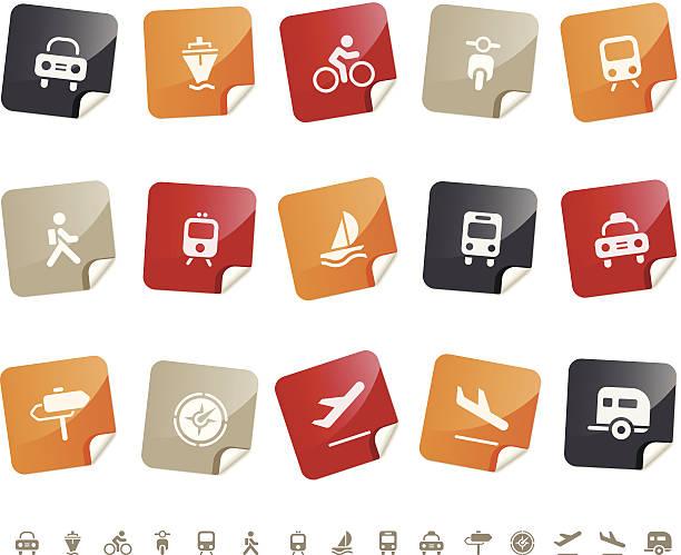 Transportation & Vehicle icons Í Sticky series vector art illustration