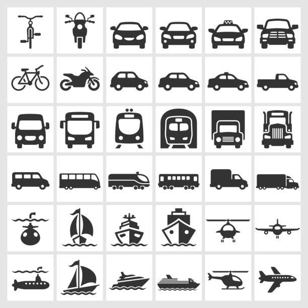交通車両ブラック&ホワイトのロイヤリティフリーのベクターアイコンセット - 列車点のイラスト素材/クリップアート素材/マンガ素材/アイコン素材