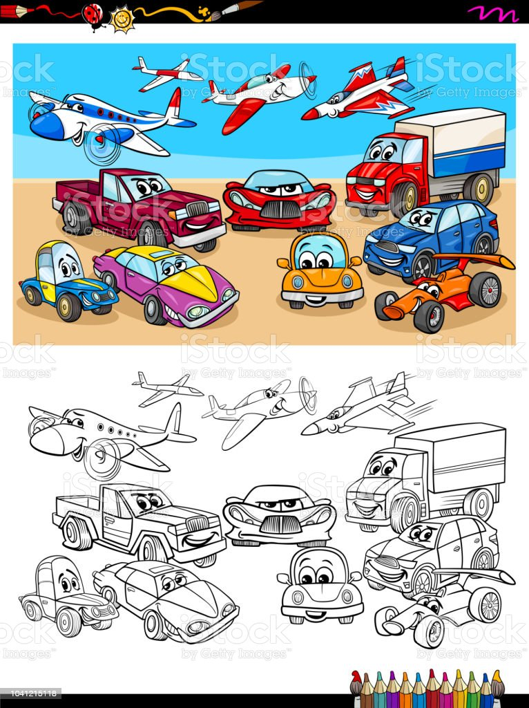 Ilustración de Caracteres De Vehículos De Transporte Para Colorear ...