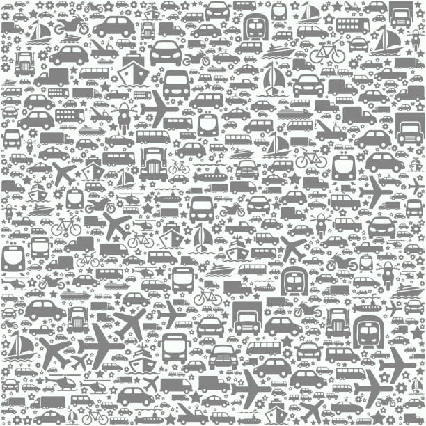 Transportation Vehicles on Seamless Background Transportation Vehicles on Seamless Background pattern stock illustrations