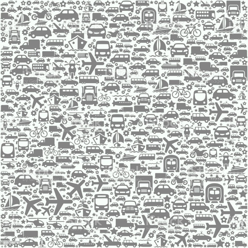 Transportation Vehicles on Seamless Background vector art illustration