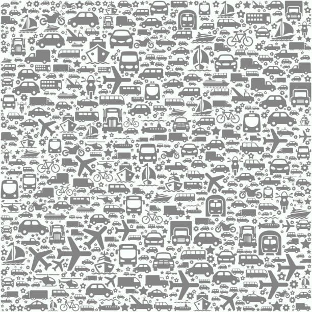 transportation vehicles on seamless background - pattern stock illustrations, clip art, cartoons, & icons