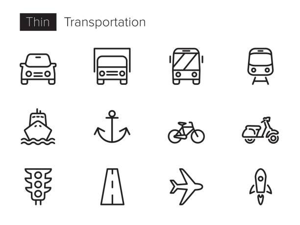 Transportation, Vehicles Vector icons (thin line) Vector icon set with transport, vehicles icons, glyphs, symbols in thin line naval base stock illustrations