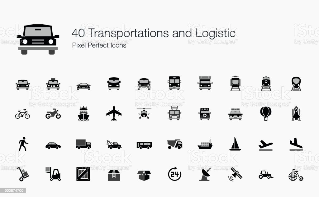 40 Transportations and Logistic Pixel Perfect Icons vector art illustration