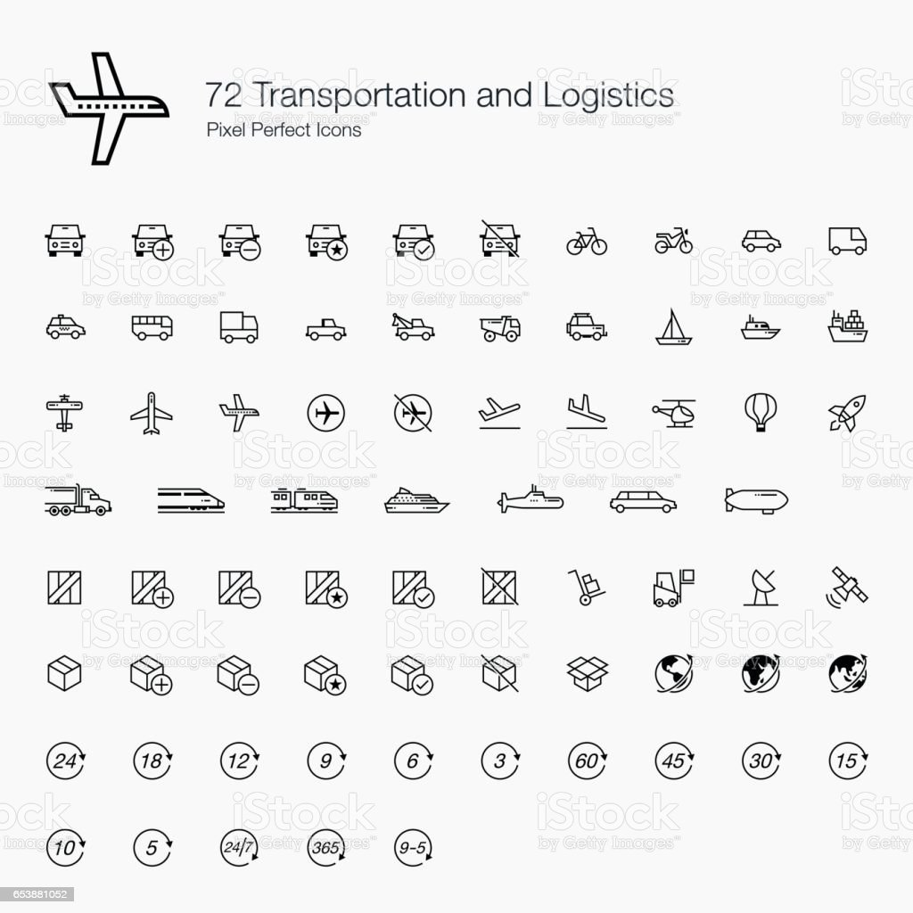 72 Transportations and Logistics Pixel Perfect Icons (line style) vector art illustration