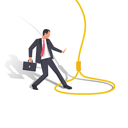 Trap concept. Business people metaphor. Vector illustration flat design. Isolated on white background. The businessman was caught in a rope loop. Man in captivity.