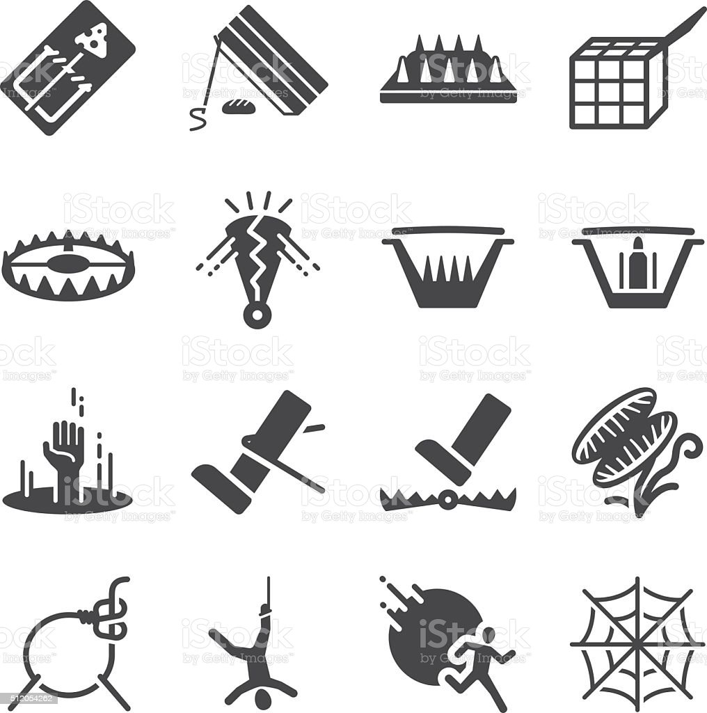 Trap icons set vector art illustration