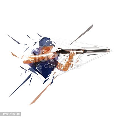 istock Trap shooting, aiming athlete with gun, low polygonal isolated vector illustration. Geometric drawing from triangles 1268516316