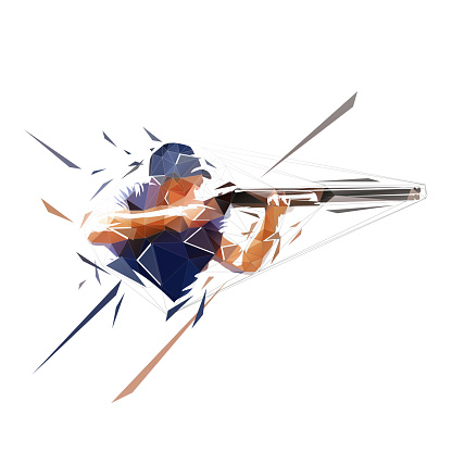 Trap shooting, aiming athlete with gun, low polygonal isolated vector illustration. Geometric drawing from triangles