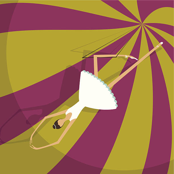 Trapeze artist vector art illustration