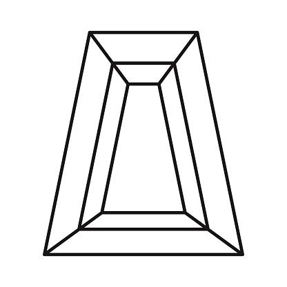 Trapeze Cut Gemstone Icon on Transparent Background