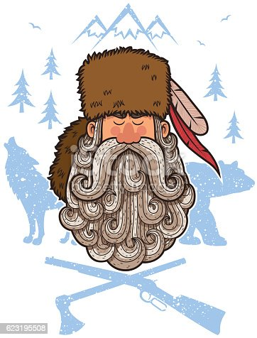 Illustration of cartoon trapper with big beard.