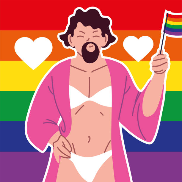 stockillustraties, clipart, cartoons en iconen met trasgender met baard, homoseksuele man, pride parade - drag queen