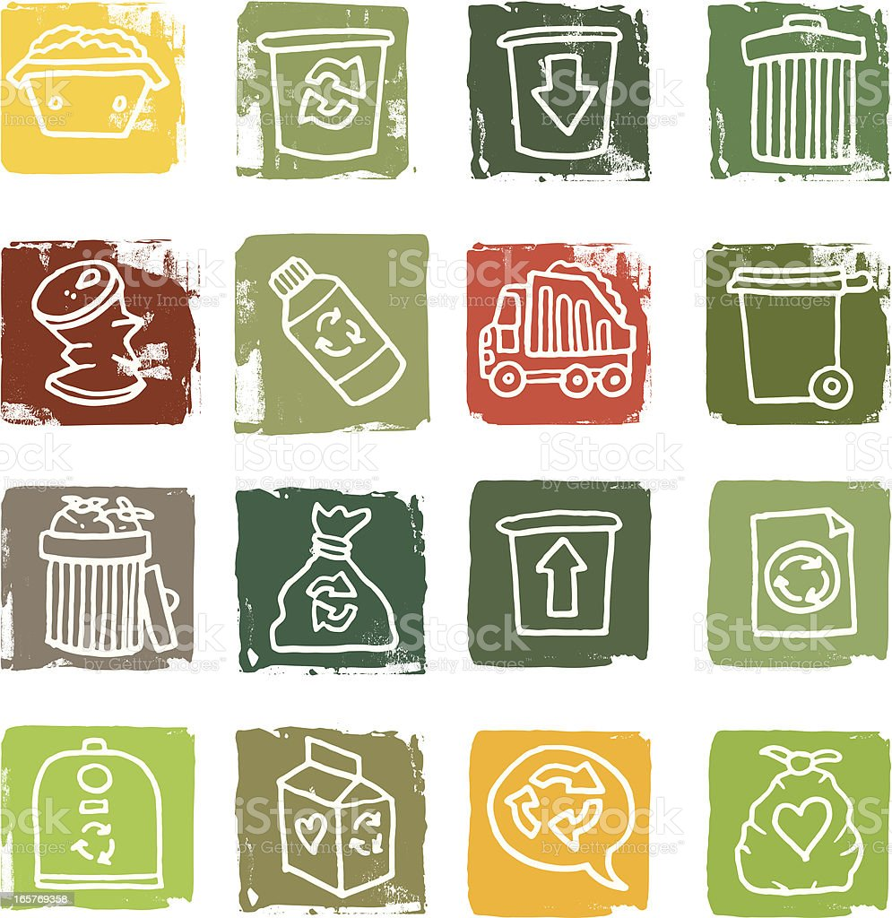 Trash and rubbish grunge block icons vector art illustration