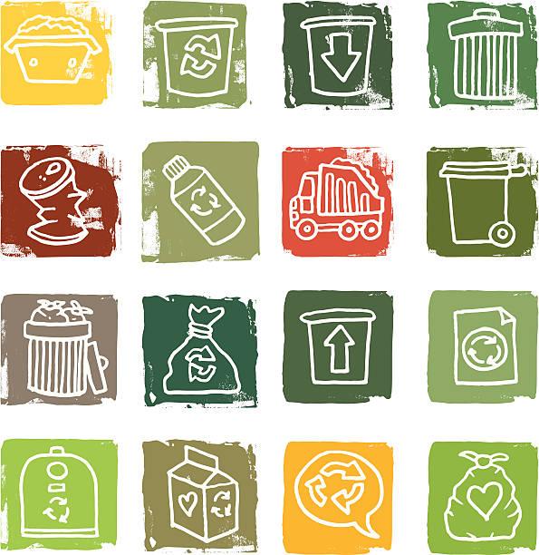 abfall und müll grunge-block-icons - altglas stock-grafiken, -clipart, -cartoons und -symbole