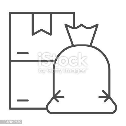 istock Trash bag and cardboard boxes thin line icon, Cleaning service concept, sorted garbage sign on white background, Trash in bag and empty cardboard boxes icon in outline style. Vector graphics. 1282942670