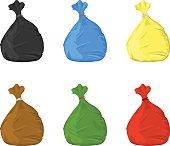 Trash Bin Bags Icon Set.