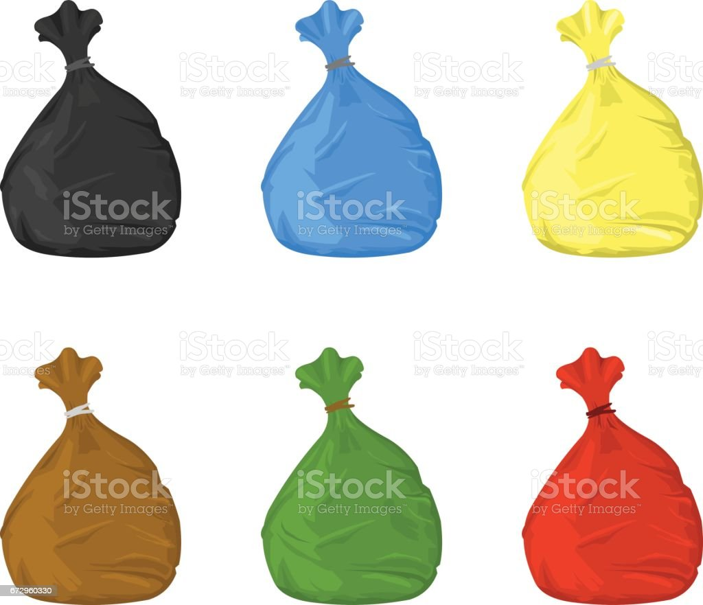 Trash Bin Bags Icon Set. vector art illustration