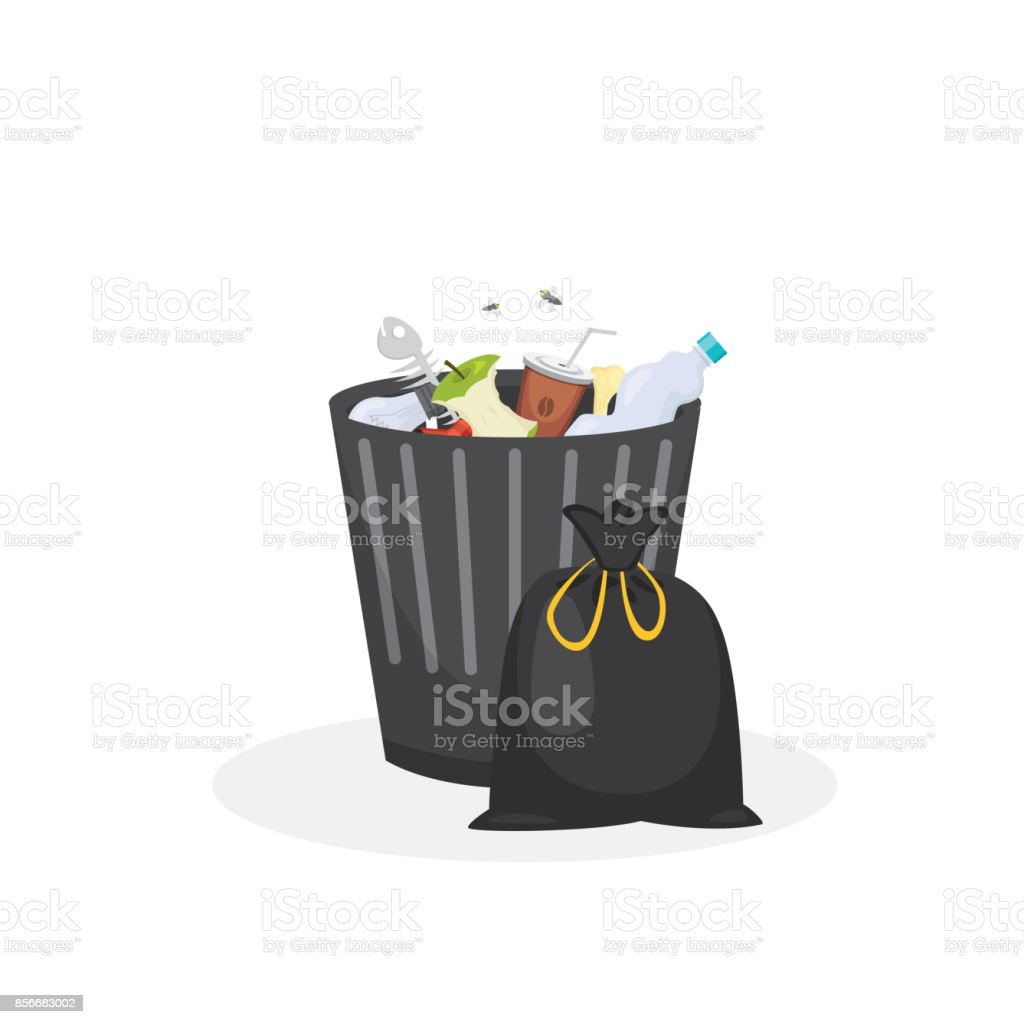 Trash bin garbage container vector illustration in cartoon style royalty-free trash bin garbage container vector illustration in cartoon style stock illustration - download image now