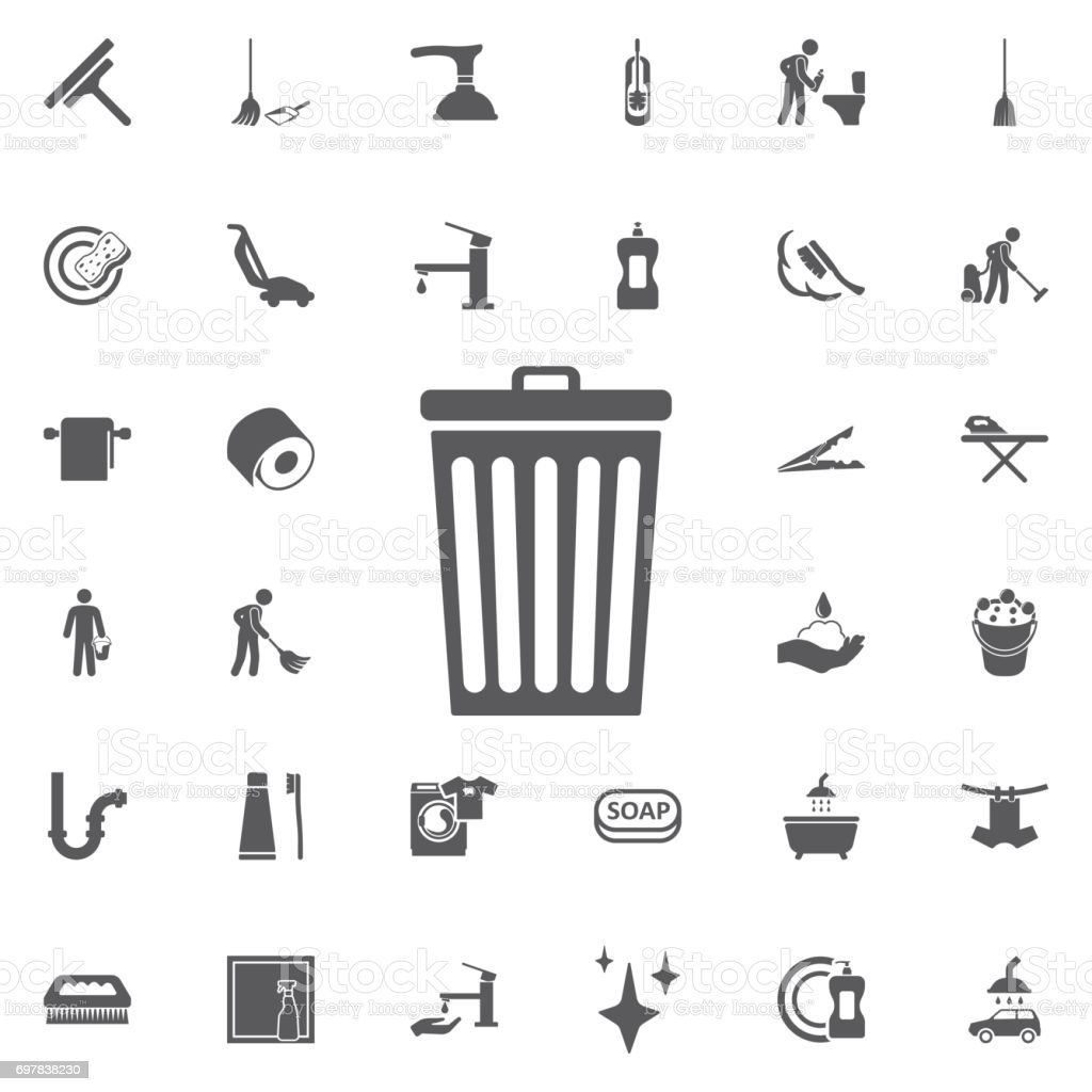 trash bin icon. vector art illustration