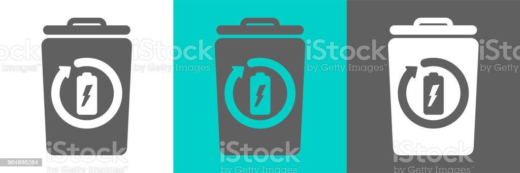 Trash bin vector element with battery outline icon royalty-free trash bin vector element with battery outline icon stock vector art & more images of basket