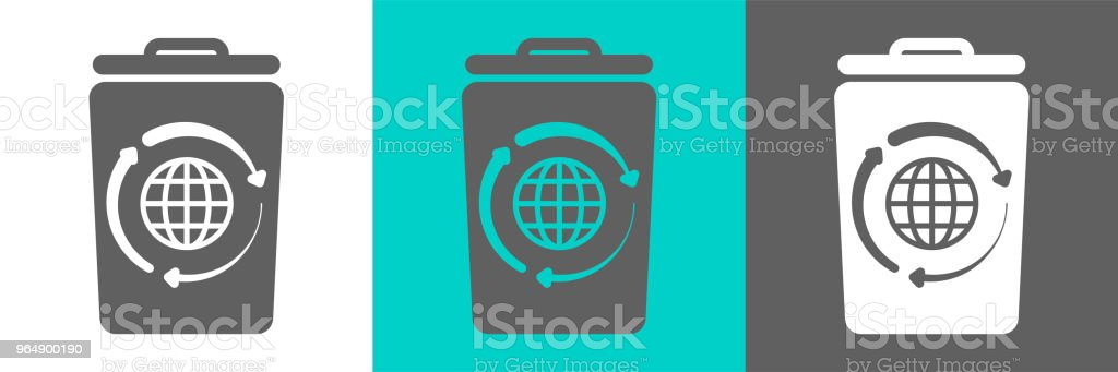 Trash bin vector element with globe outline icon. royalty-free trash bin vector element with globe outline icon stock vector art & more images of basket